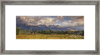 Panaroma Clearing Storm On A Fall Morning In Grand Tetons National Park Framed Print