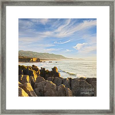 Pancake Rocks Dolomite Point Punakaiki New Zealand Framed Print by Colin and Linda McKie