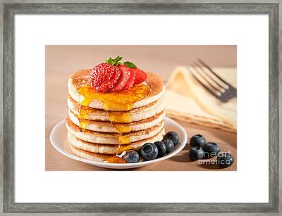 Pancakes With Maple Syrup Framed Print by Amanda Elwell