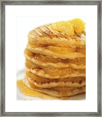 Pancakes With Oranges And Syrup Framed Print by Science Photo Library