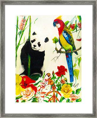 Panda And Parrot Framed Print