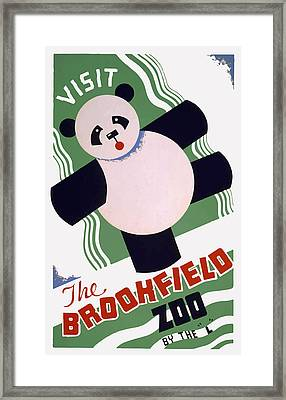 Framed Print featuring the painting Panda At Brookside by American Classic Art