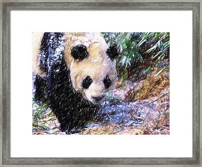 Framed Print featuring the painting Panda Bear Walking In Forest by Lanjee Chee
