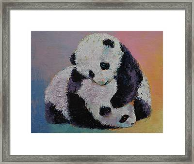 Baby Panda Rumble Framed Print by Michael Creese