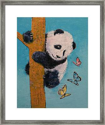 Panda Butterflies Framed Print by Michael Creese