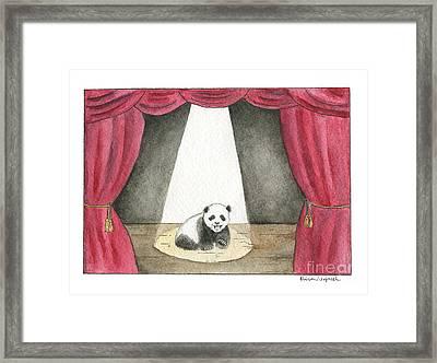 Panda Cub On Center Stage Framed Print by Erica Vojnich