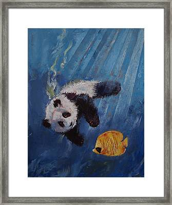 Panda Diver Framed Print by Michael Creese