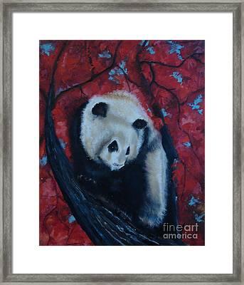 Panda Framed Print by Donna Chaasadah