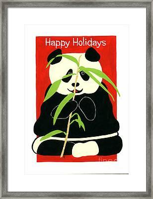 Panda Greetings Framed Print