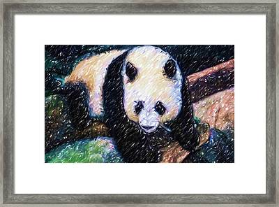 Framed Print featuring the painting Panda In The Rest by Lanjee Chee