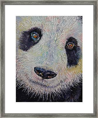 Panda Portrait Framed Print by Michael Creese