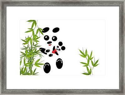 Panda Mom With A Baby Framed Print by Ausra Huntington nee Paulauskaite
