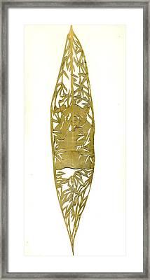 Panda On A Bamboo Leaf Framed Print by Alfred Ng