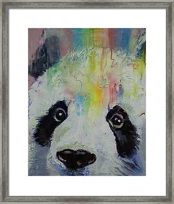Panda Rainbow Framed Print by Michael Creese
