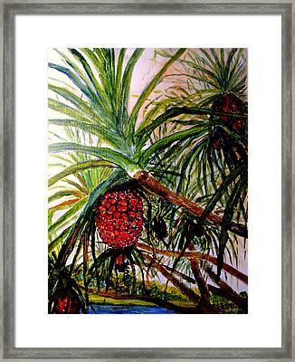 Framed Print featuring the painting Pandanus Palm Fruit  by Jason Sentuf