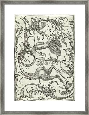 Panel With Leaf Tendrils And Dragon, Johan Barra Framed Print by Johan Barra And Nicasius Rousseel And Wendel Dietterlin Ii