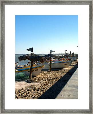 Pangas On The Beach Framed Print by Dick Botkin