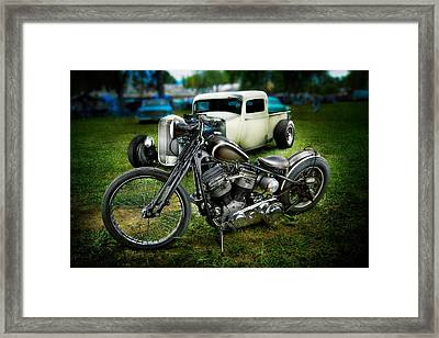 Panhead Harley And Ford Pickup Framed Print