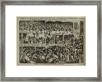 Panic At Sadlers Wells Theatre Framed Print by British Library