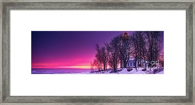 Pano Of Pointe Aux Barques Framed Print