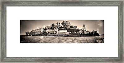 Panorama Alcatraz Shaky Sepia Framed Print