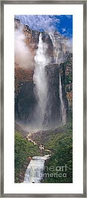 Panorama Angel Falls In Canaima National Park Venezuela Framed Print by Dave Welling