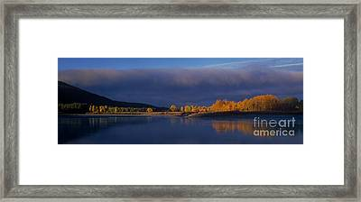 Framed Print featuring the photograph Panorama Clearing Storm Oxbow Bend Grand Tetons National Park Wyoming by Dave Welling