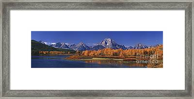 Framed Print featuring the photograph Panorama Fall Morning Oxbow Bend Grand Tetons National Park Wyoming by Dave Welling