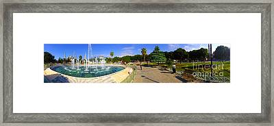 Panorama From Sultan Ahmed Park With Sultanahmet Camii Or Blue Mosque In Background Istanbul Turkey Framed Print by Ralph A  Ledergerber-Photography