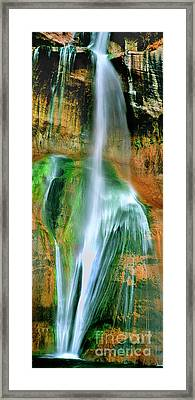 Framed Print featuring the photograph Panorama Lower Calf Creek Falls Escalante Nm Utah by Dave Welling
