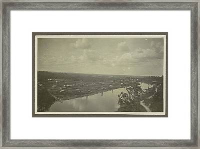 Panorama Of A River, Drilling Rigs, Storage Tanks Framed Print