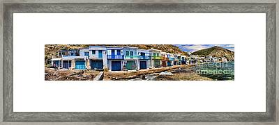 Panorama Of Tiny Colorful Fishing Huts In Milos Framed Print