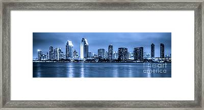 Panorama Of Blue San Diego Skyline At Night Framed Print by Paul Velgos