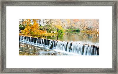 Panorama Of Buck Creek In Autumn Framed Print by Parker Cunningham