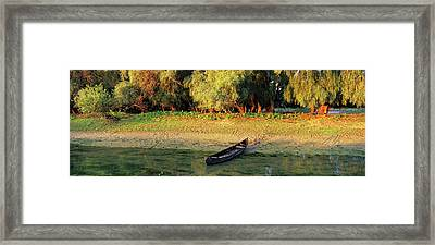 Panorama Of Channel In The Danube Delta Framed Print by Martin Zwick