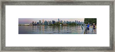 Panorama Of Coal Harbour And Vancouver Skyline At Dusk Framed Print by David Smith