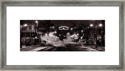Panorama Of Denver Union Station During Snow Storm Framed Print