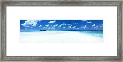 Panorama Of Deserted Sandy Beach And Island Maldives Framed Print by Matteo Colombo