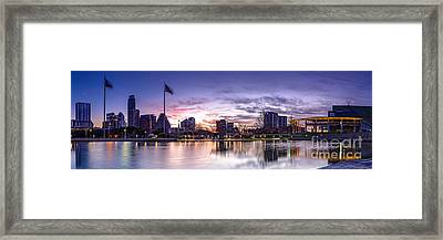 Panorama Of Downtown Austin At Dawn From The Long Center For Performing Arts - Texas Hill Country Framed Print