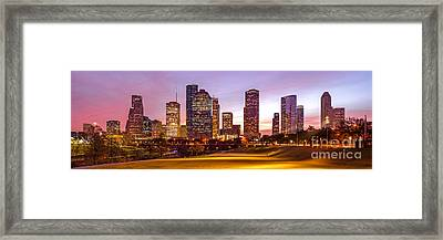 Panorama Of Downtown Houston At Dawn From Eleanor Tinsley Park - Houston Texas Harris County Framed Print