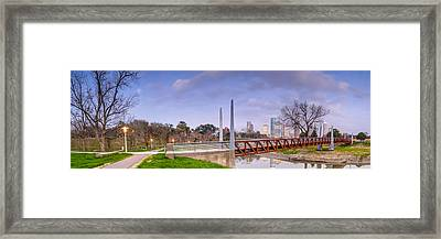 Panorama Of Downtown Houston From Buffalo Bayou Park Framed Print