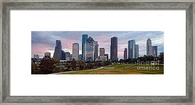 Panorama Of Downtown Houston From Eleanor Tinsley Park - Houston Texas Framed Print