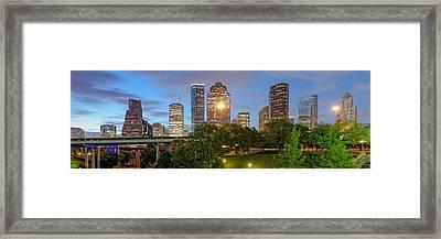 Panorama Of Downtown Houston Skyline From Sabine St. Bridge - Houston Texas Framed Print by Silvio Ligutti