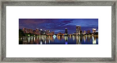 Panorama Of Downtown Orlando Framed Print