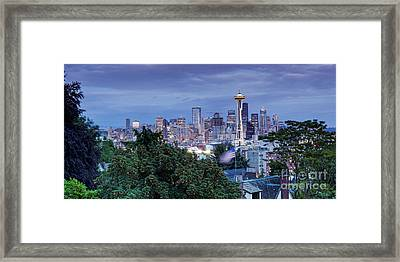 Panorama Of Downtown Seattle And Space Needle From Kerry Park At Dusk - Seattle Washington State Framed Print
