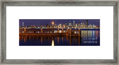 Panorama Of Downtown Seattle From Alki Beach - West Seattle Seacrest Park Washington State Framed Print by Silvio Ligutti