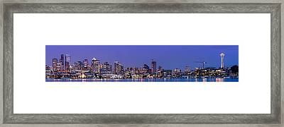 Panorama Of Downtown Seattle From Gasworks Park At Twilight Seattle - Washington Framed Print by Silvio Ligutti
