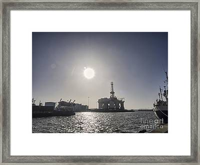 Panorama Of Esbjerg Oil Harbor With Rig Framed Print