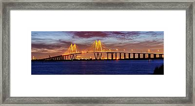 Panorama Of Fred Hartman Bridge Framed Print