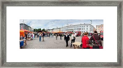 Panorama Of Helsinki Inner Harbor Panorama Framed Print by Thomas Marchessault